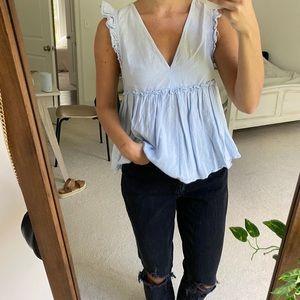 Zara Baby Blue Top